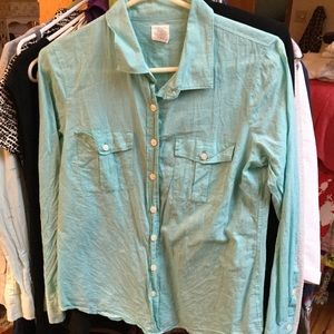J. Crew Blue Perfect Short Tab Sleeves M Cotton